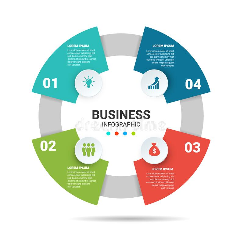 4 step infographic options circle diagram Business options royalty free stock images
