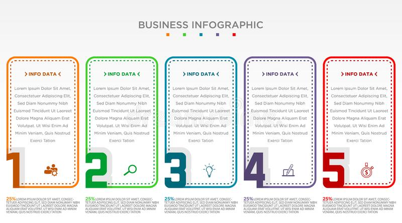 Step infographic with 5 options with different color. Illustration of step information chart and infographic. Vector illustration EPS.8 EPS.10 vector illustration