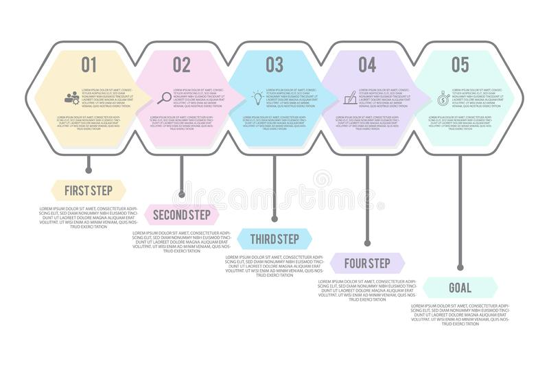 Step infographic with 5 options in flat style. Infographic arrow and steps point illustration. Vector illustration EPS.8 EPS.10 stock illustration