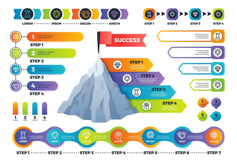 Step infographics. Pyramid graph with process options, infocharts and timeline. Marketing business infographic vector royalty free illustration