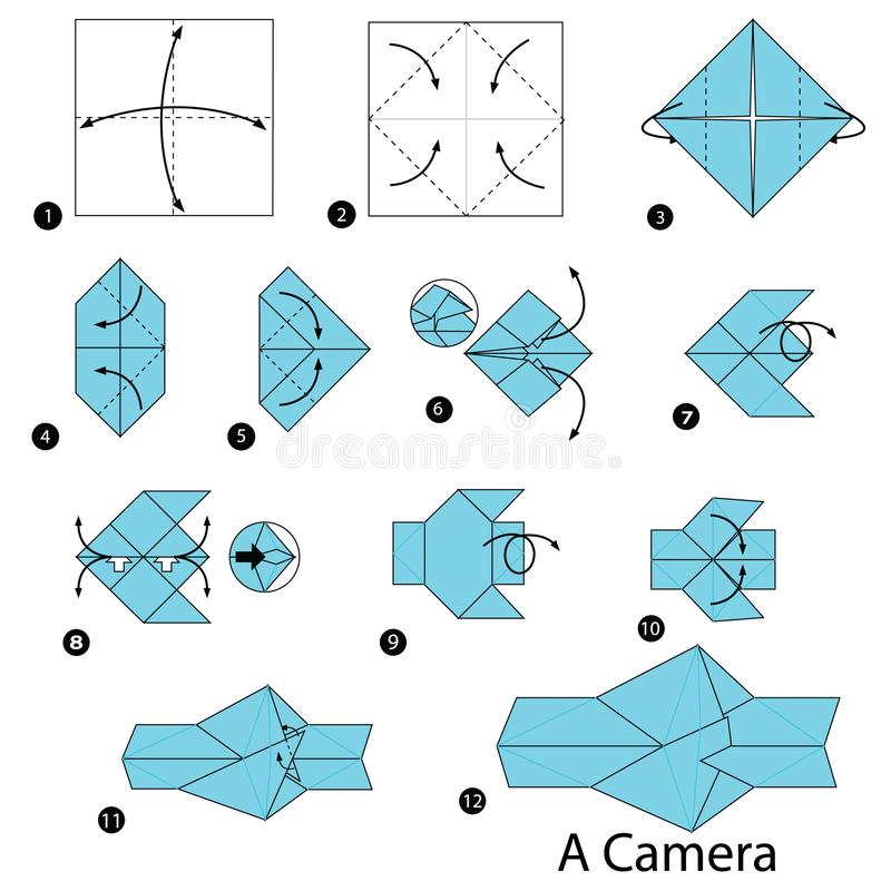 step by step instructions how to make origami a camera