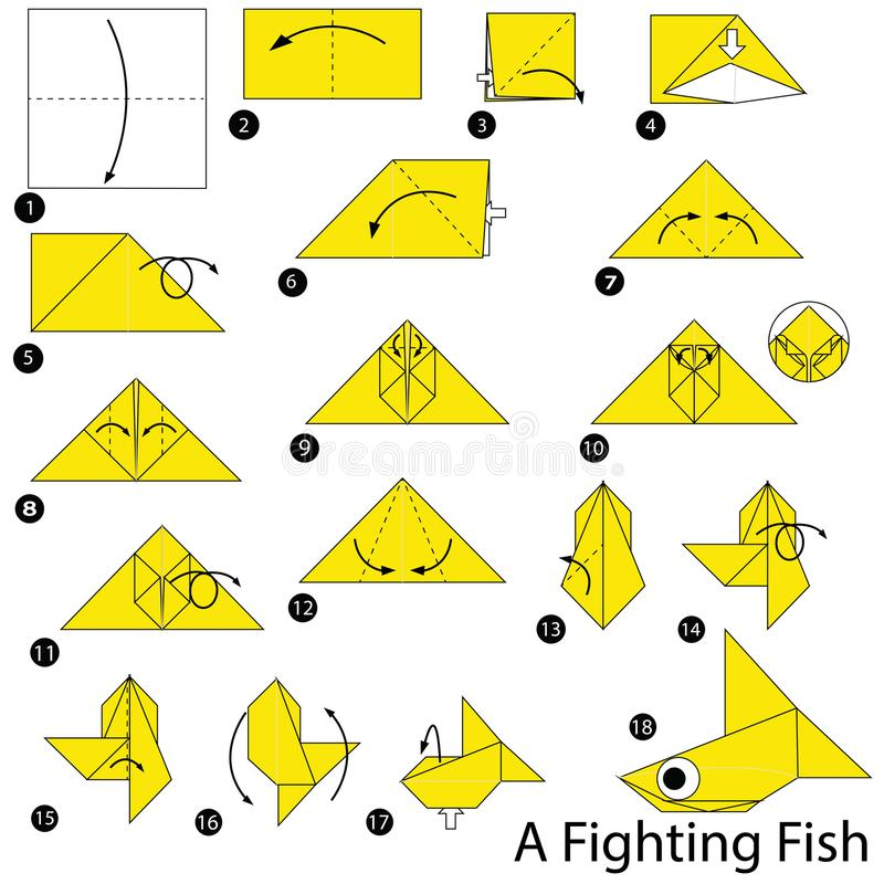 Step by step instructions how to make origami A Fighting. Animal toy cartoon cute paper steps origami art royalty free illustration