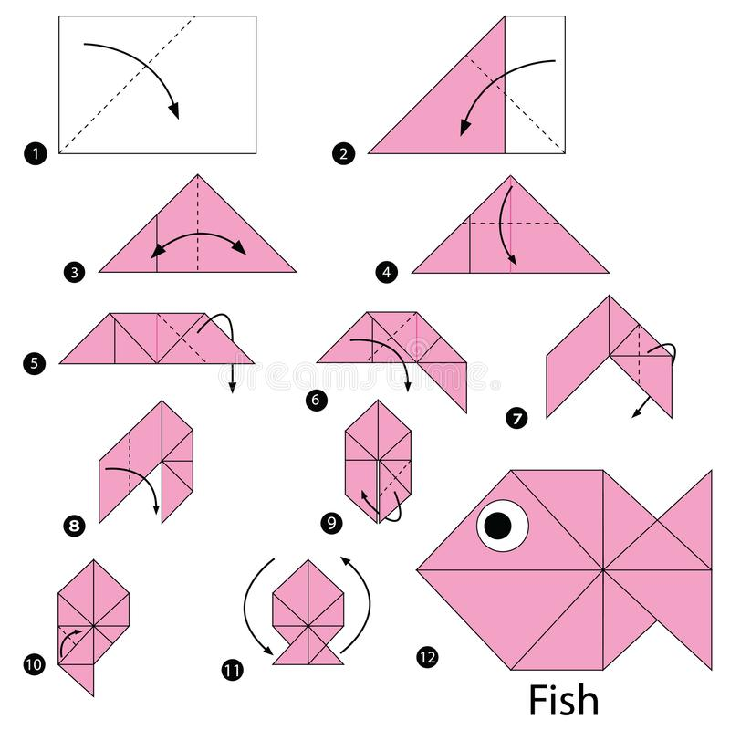 Step by step instructions how to make origami A Fish. Fish Toy cartoon cute paper steps origami art royalty free illustration