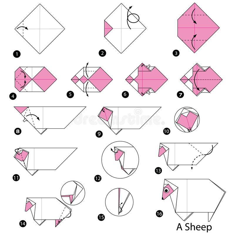 Step by step instructions how to make origami A Sheep vector illustration