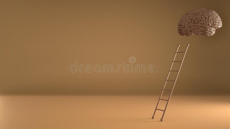 Step ladder leading to human floating brain on orange background. Growth, future, development, creativity, intelligence concept stock illustration