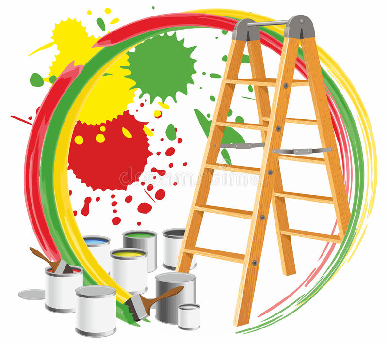 Download Step-ladder and paints stock vector. Image of splotches - 22133964