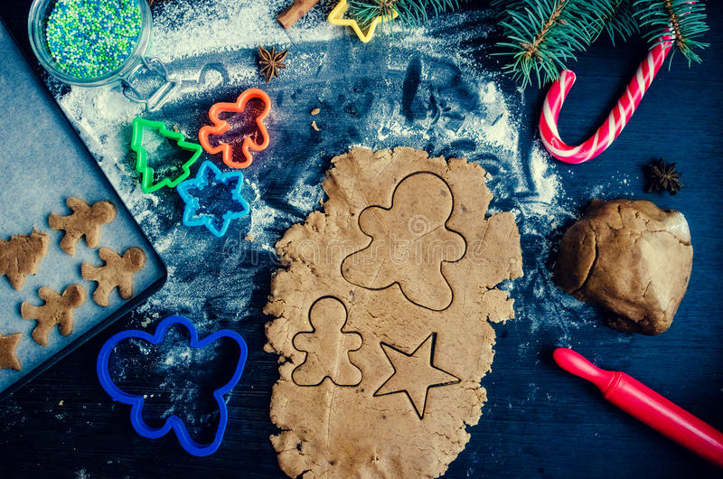 Step of making Christmas cookies stock images