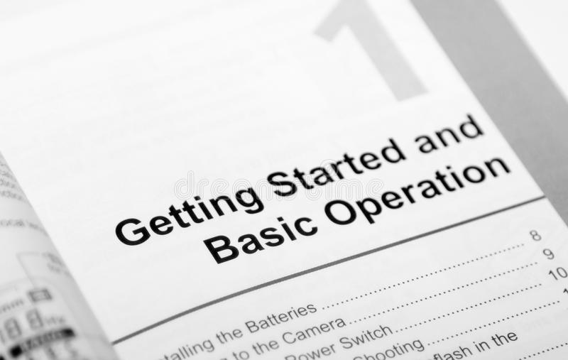 Step One. First pages of an operation manual. Conceptual photo of learning stock photos