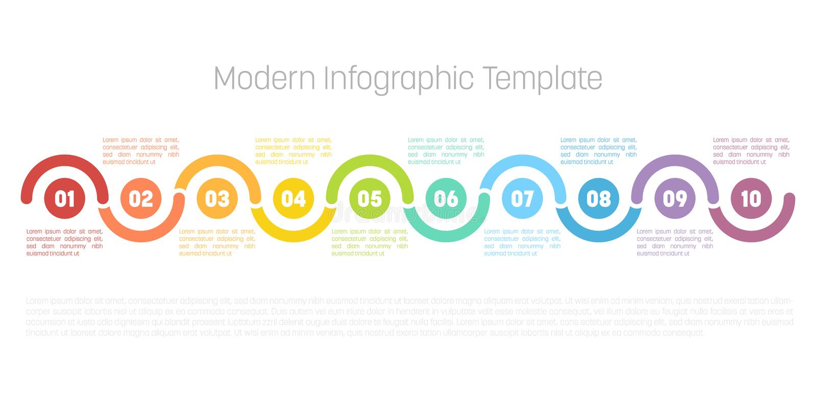 10 step process modern infographic diagram. Graph template of circles and waves. Business concept of 10 steps or options vector illustration