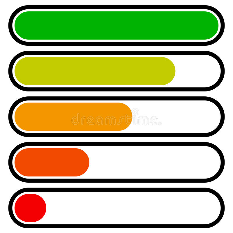 5-step progress, load bars in sequence. Step, phase, level, comp. Letion indicator - Royalty free vector illustration vector illustration