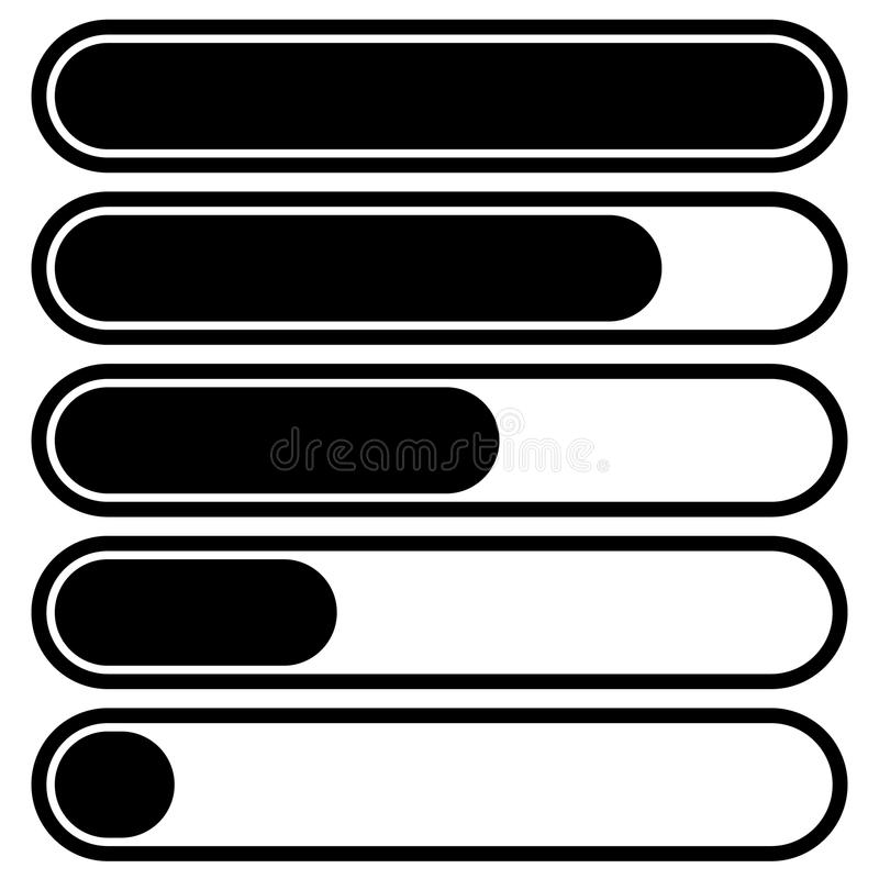 5-step progress, load bars in sequence. Step, phase, level, comp. Letion indicator - Royalty free vector illustration royalty free illustration