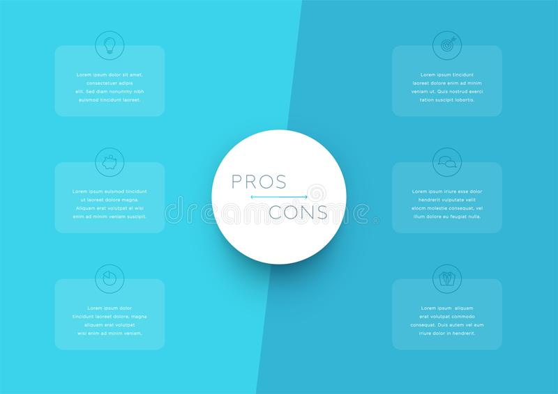 2 Step Pros and Cons List Infographic Template royalty free illustration