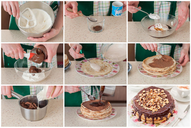 A Step By Step Collage Of Making Coffee And Chocolate Crepe Cake