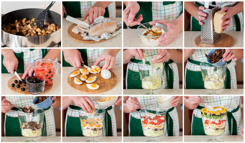 A Step by Step Collage of Making Layered Salad. (Salad Leaves, Black Olives, Tomatoes, Mushrooms, Peas, Eggs, Cheese, Chicken, Capsicum, Corn stock image