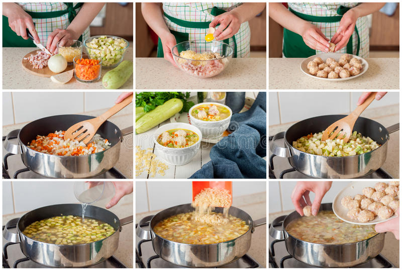 A Step by Step Collage of Making Soup with Zucchini, Pasta and M. A Step by Step Collage of Making Summer Soup with Zucchini, Pasta and Chicken and Ham Meatballs stock photos