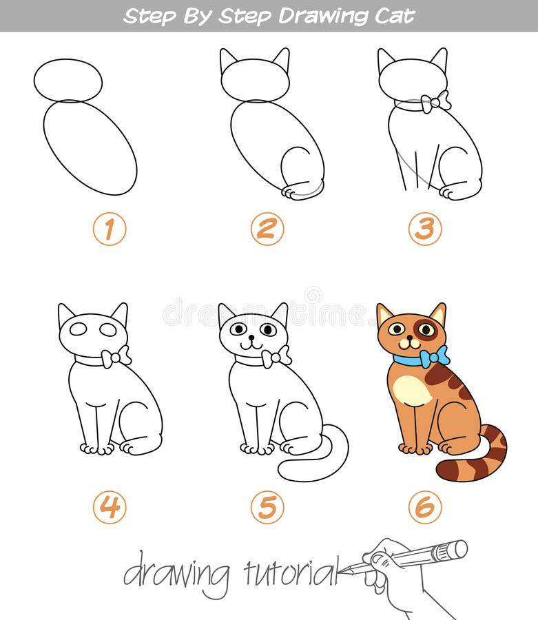 Step by step drawing Cat. Drawing tutorial. Step by step drawing Cat. Easy to drawing Cat for Children. Funny cartoon character. Vector illustration stock illustration