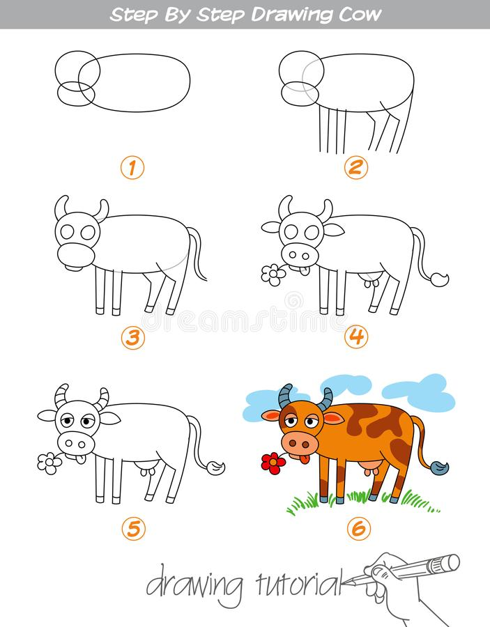 Step by step drawing Cow. Drawing tutorial. Step by step drawing Cow. Easy to drawing Cow for Children. Funny cartoon character. Vector illustration vector illustration