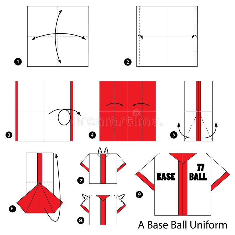 Download Step By Instructions How To Make Origami A Base Ball Uniform Stock Vector