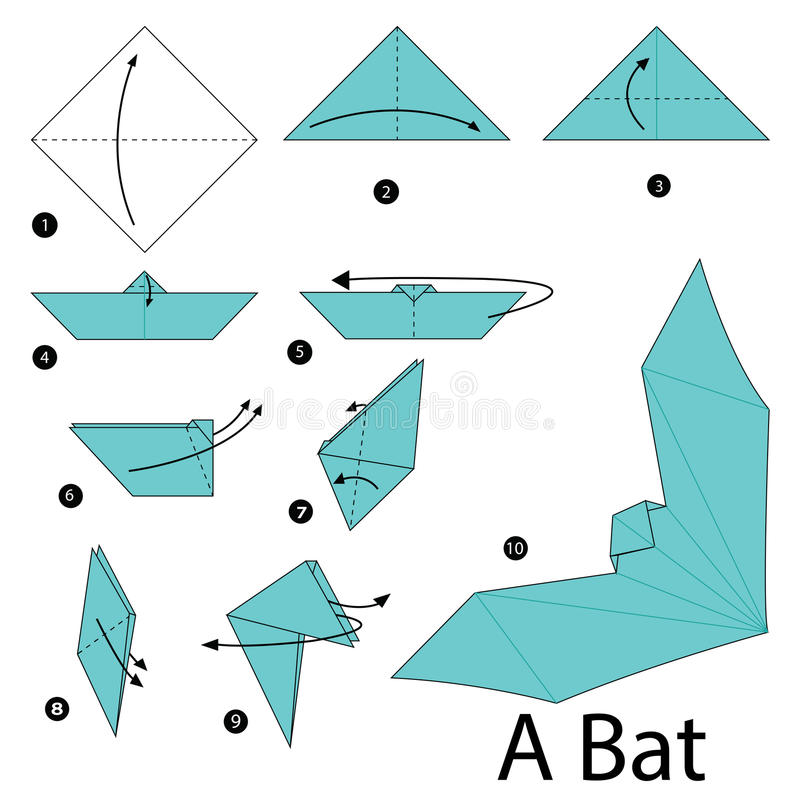Download Step By Instructions How To Make Origami A Bat Stock Vector