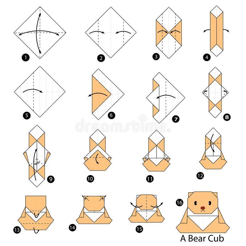 Step by step instructions how to make origami A Bear cub. Step by step instructions how to make origami stock illustration