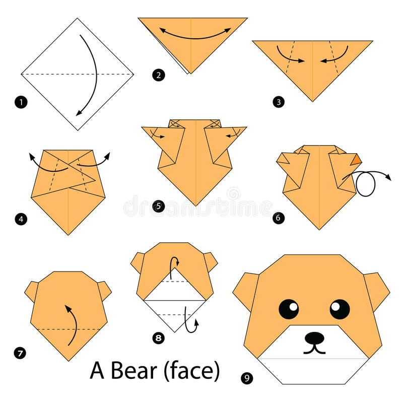 Step by step instructions how to make origami A Bear (face). vector illustration