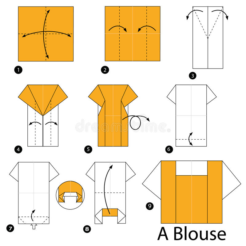 step by step instructions how to make origami a blouse