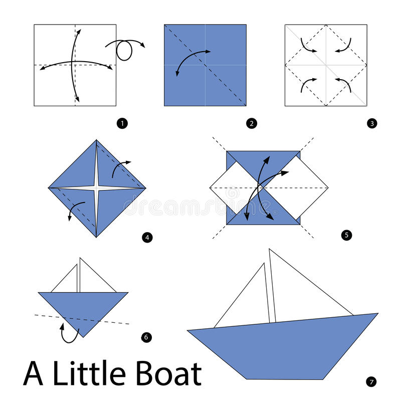 Download Step By Instructions How To Make Origami A Boat Stock Vector