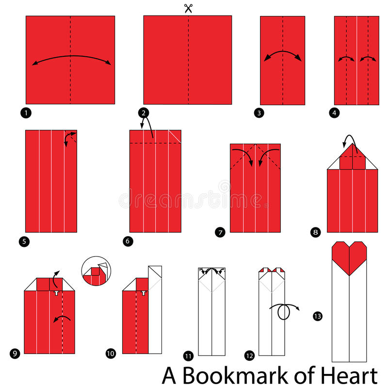 Download Step By Instructions How To Make Origami A Bookmark Of Heart Stock Vector