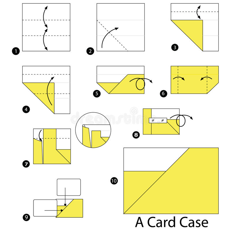 Download Step By Instructions How To Make Origami A Card Case Stock Vector
