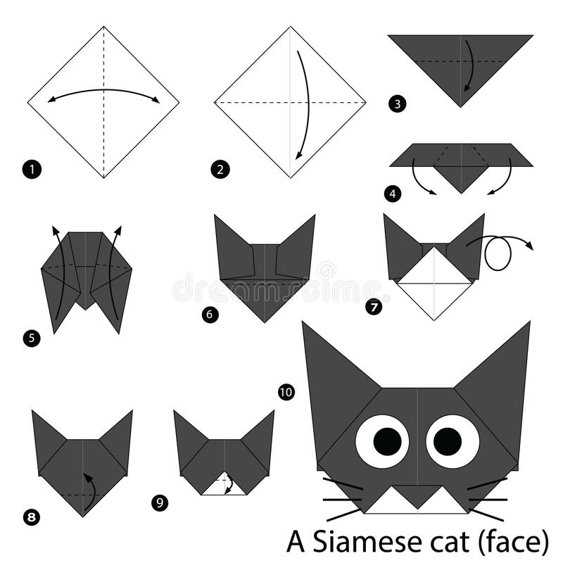 How to make an origami cat face step by step. - YouTube   800x800