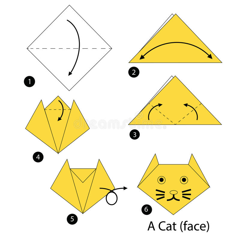 Step by step instructions how to make origami A Cat. Animals toy cartoon cute paper steps origami royalty free illustration