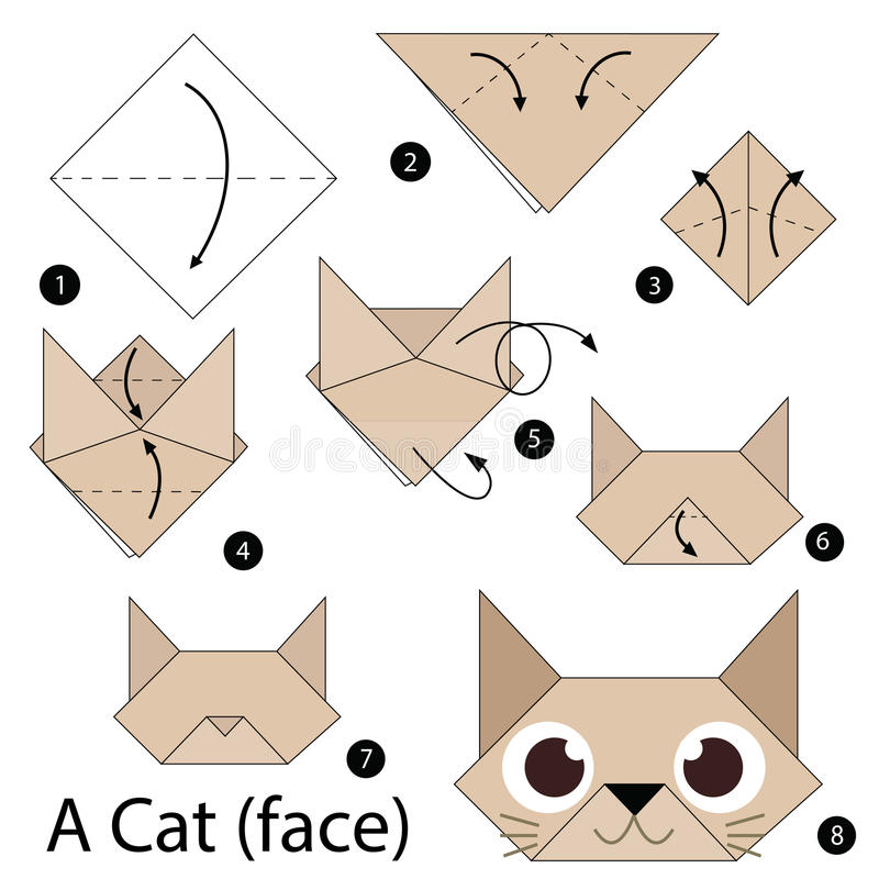 Step By Step Instructions How To Make Origami A Cat. Stock Vector ...