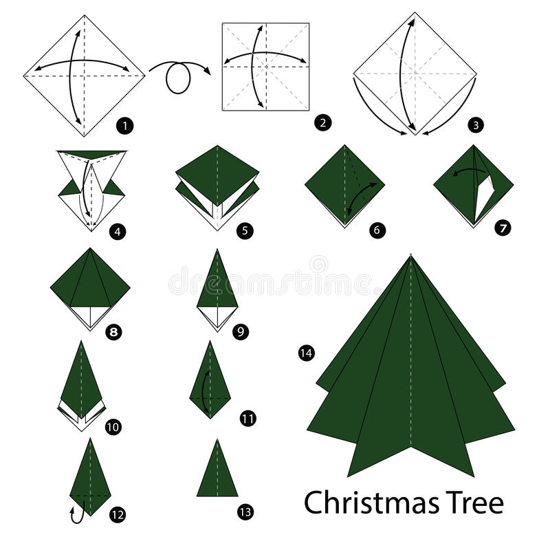 Step By Instructions How To Make Origami Christmas Tree Stock