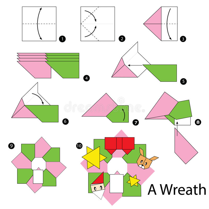 Step by step instructions how to make origami christmas wreath stock vector - Origami de noel facile ...