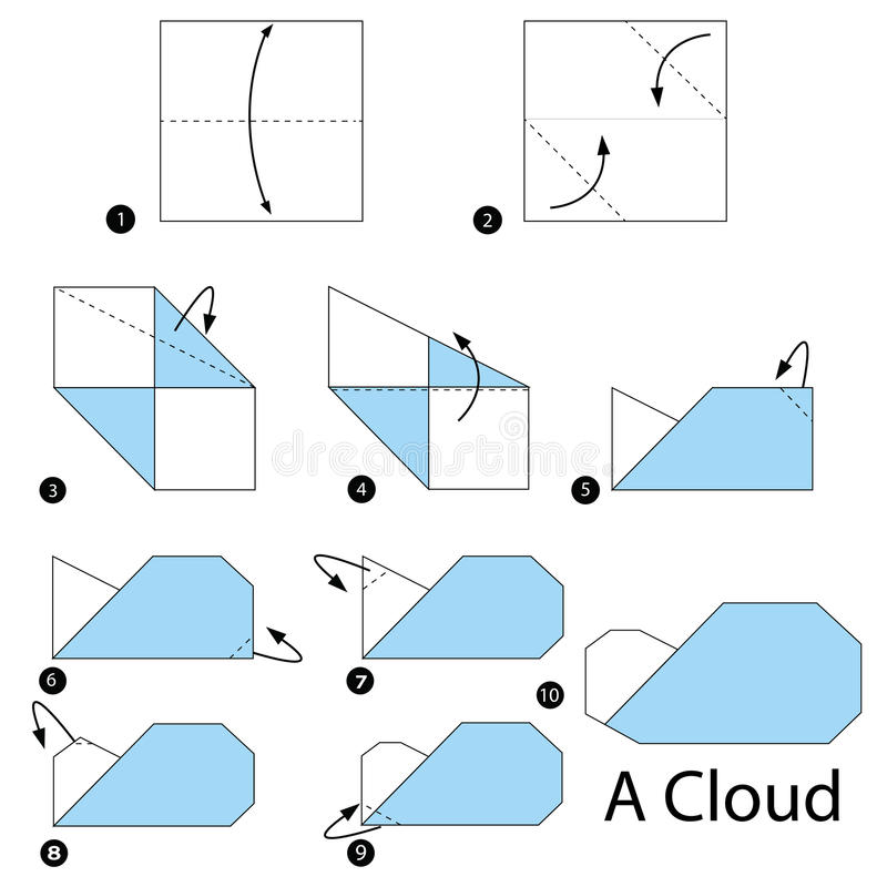 Download Step By Instructions How To Make Origami A Cloud Stock Vector