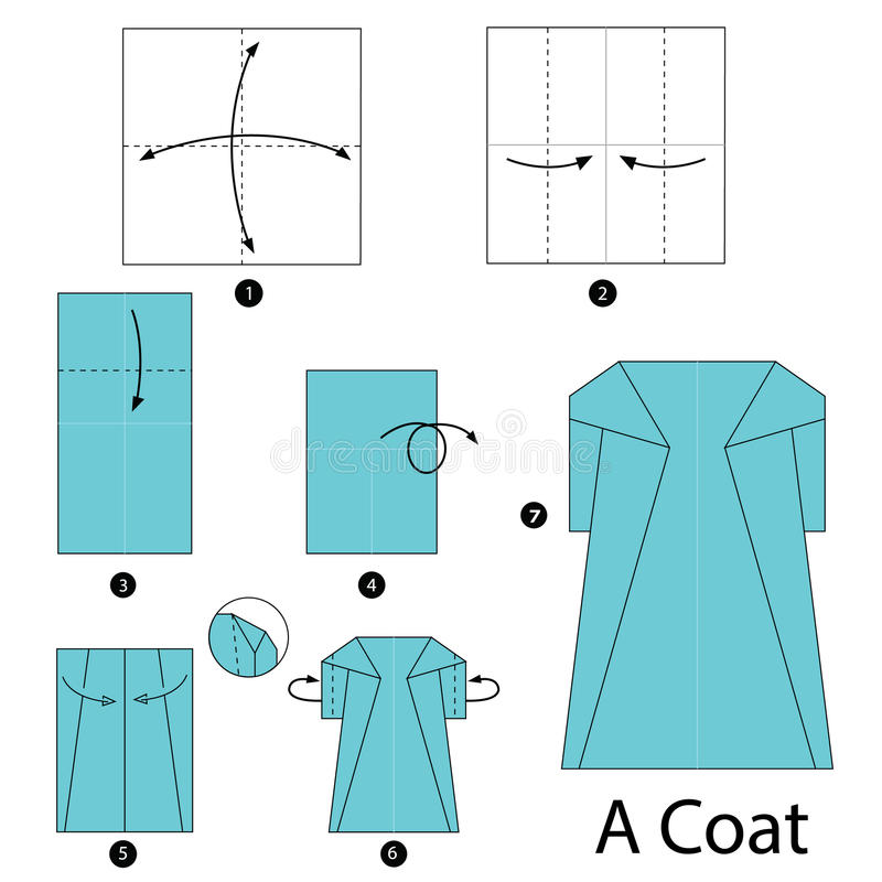 Download Step By Instructions How To Make Origami A Coat Stock Illustration