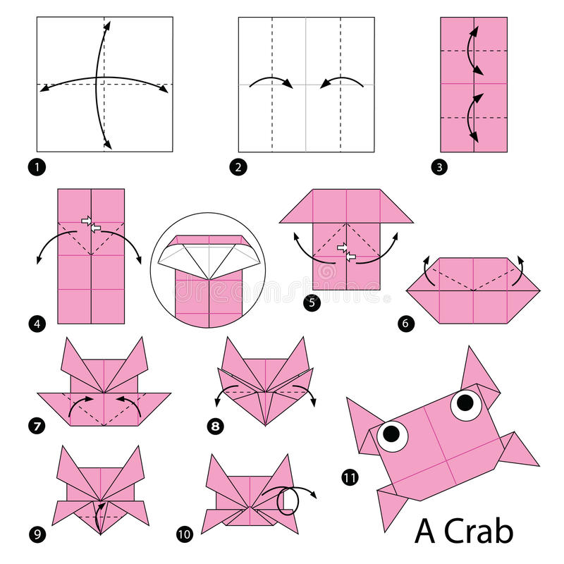 Download Step By Instructions How To Make Origami A Crab Stock Vector