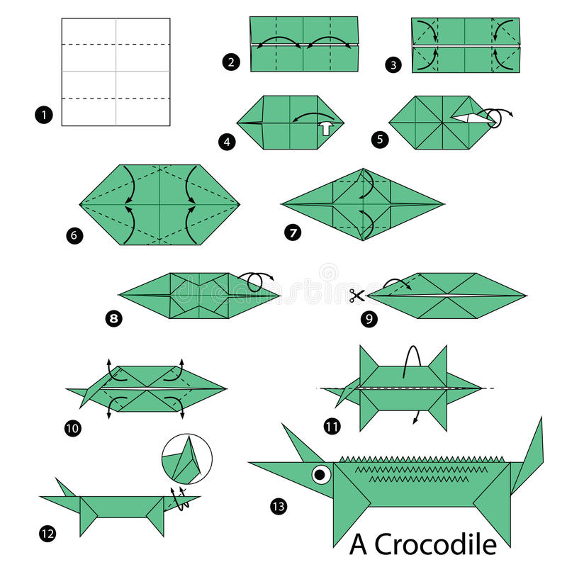 Step by step instructions how to make origami A Crocodile. stock illustration