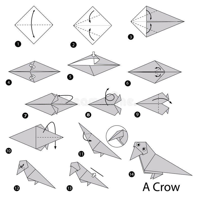 Download Step By Instructions How To Make Origami A Crow Stock Vector