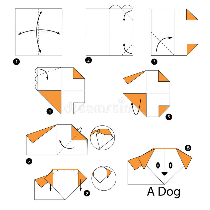 Download Step By Instructions How To Make Origami A Dog Stock Vector