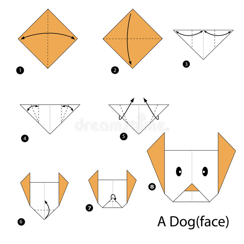 Step by step instructions how to make origami A Dog. Animal toy cartoon cute paper steps origami stock illustration