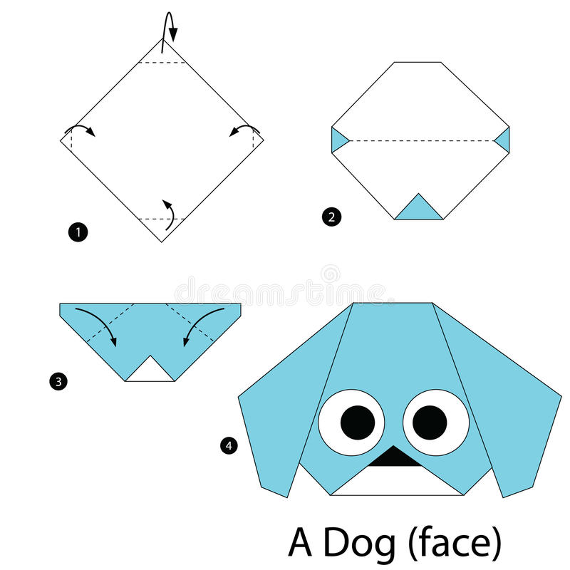 Step by step instructions how to make origami A Dog (face). Animal toy cartoon cute paper steps origami vector illustration