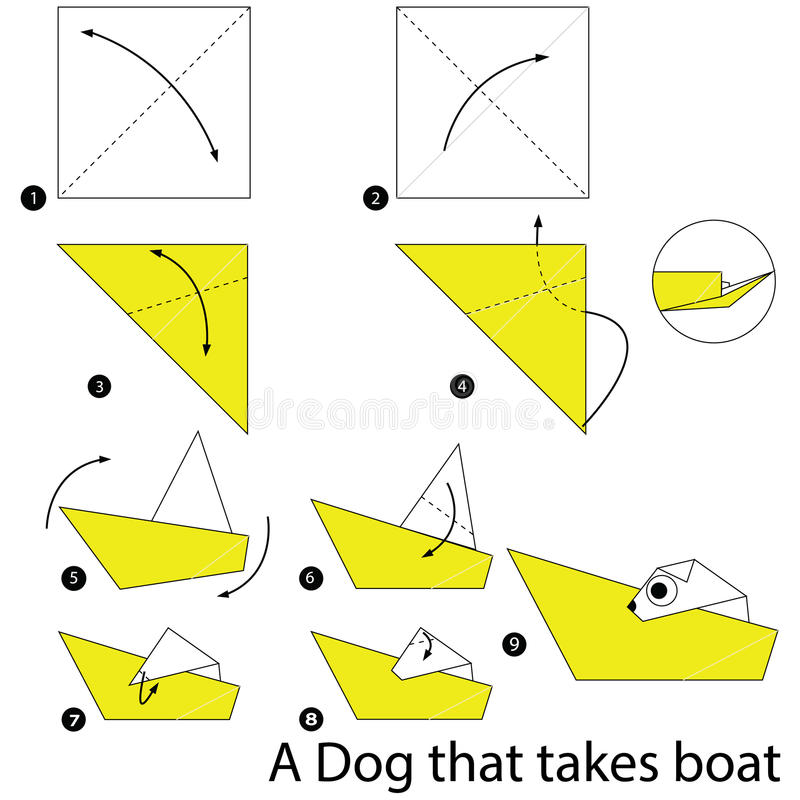 Step By Step Instructions How To Make Origami A Dog That Takes Boat