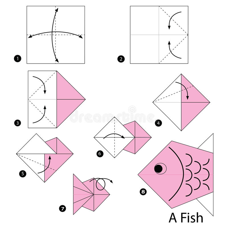 Step by step instructions how to make origami a Fish. Step by step instructions how to make origami royalty free illustration