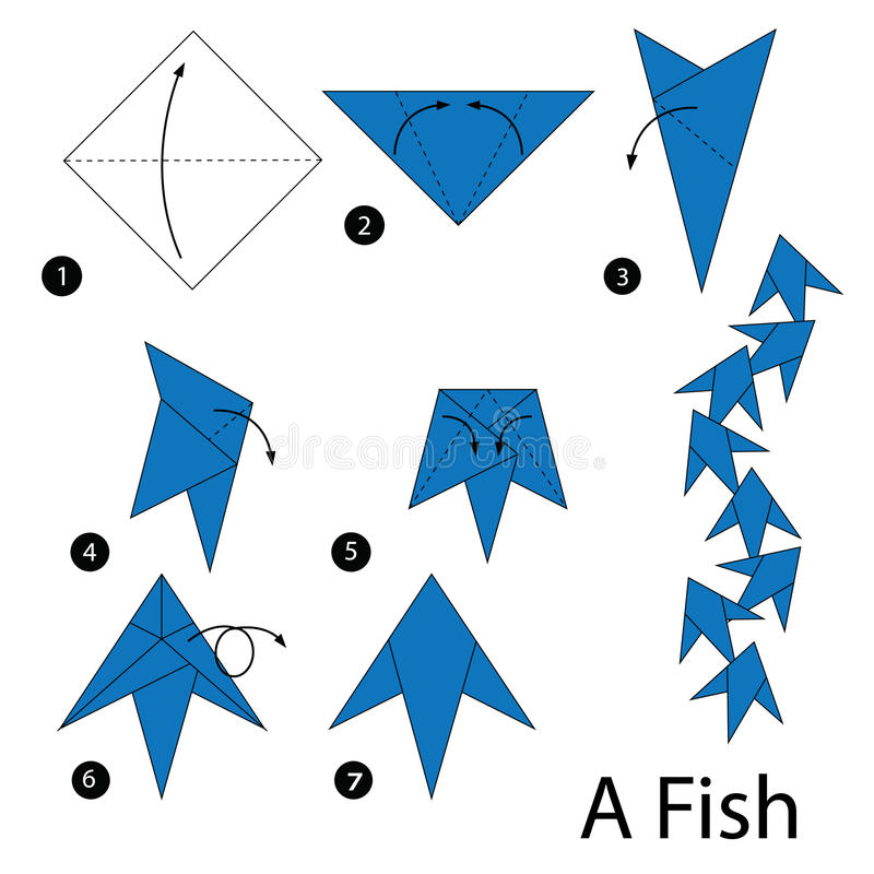 Step by step instructions how to make origami fish. Animal toy cartoon cute paper steps origami stock illustration