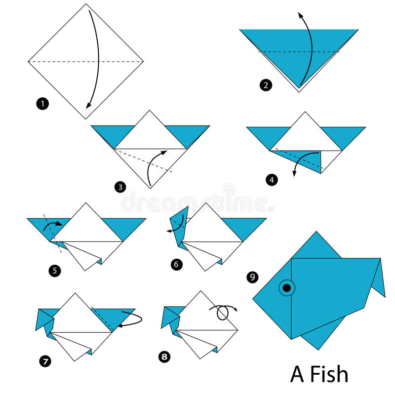 Step by step instructions how to make origami A Fish. stock illustration
