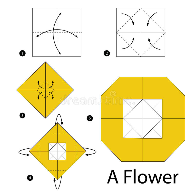 Download Step By Instructions How To Make Origami A Flower Stock Vector
