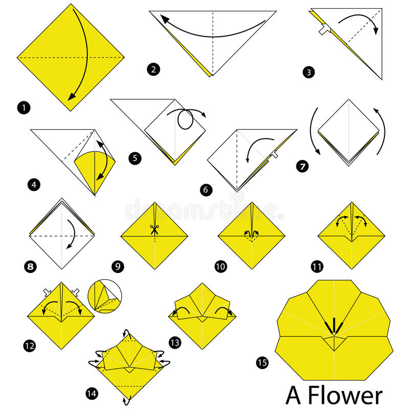 Step by step instructions how to make origami a flower stock vector download step by step instructions how to make origami a flower stock vector illustration of mightylinksfo