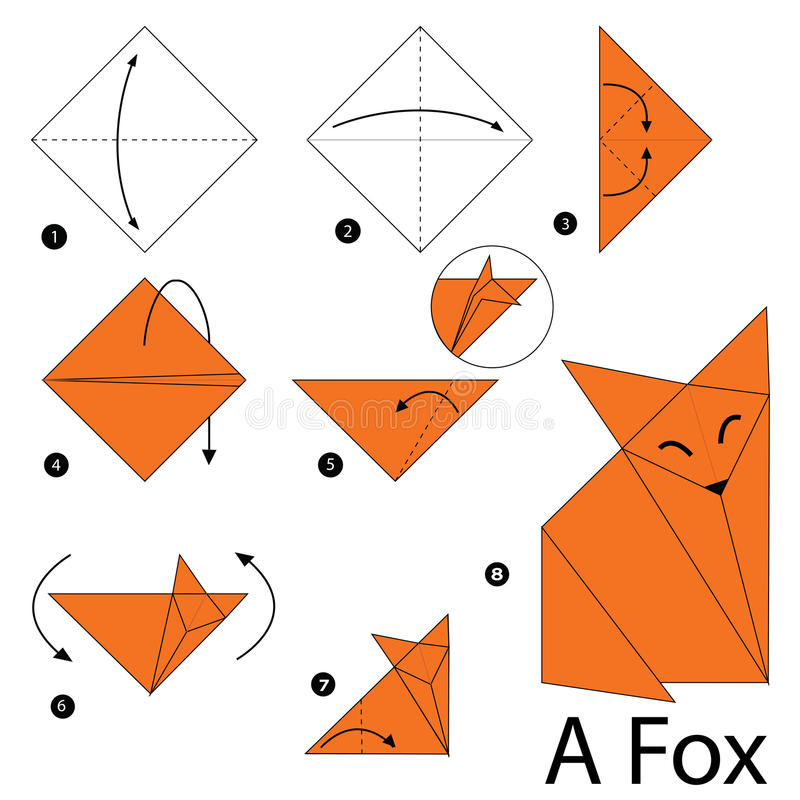 step by step instructions how to make origami a fox stock