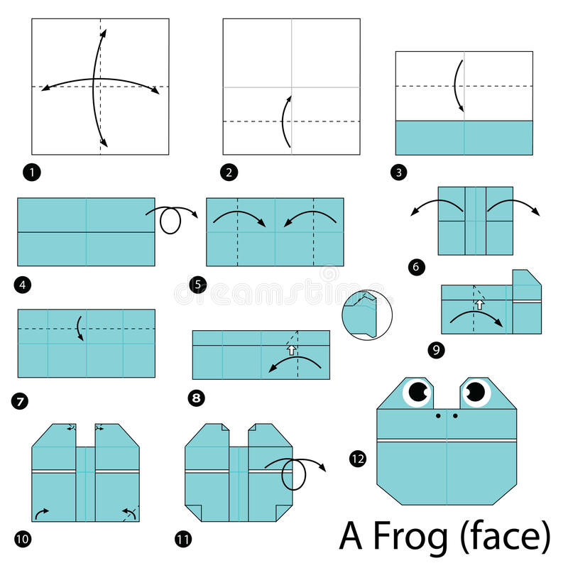 Step by step instructions how to make origami A Frog. Animal toy cartoon cute paper steps origami vector illustration